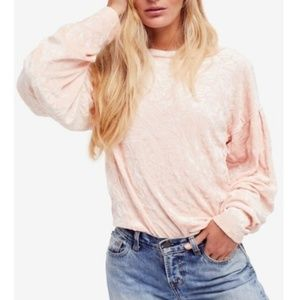 NWT FREE PEOPLE LIGHT PINK VELVET BALLOON SLEEVES